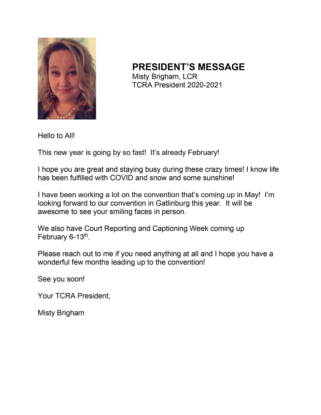 Presidents Message 2021 02 15