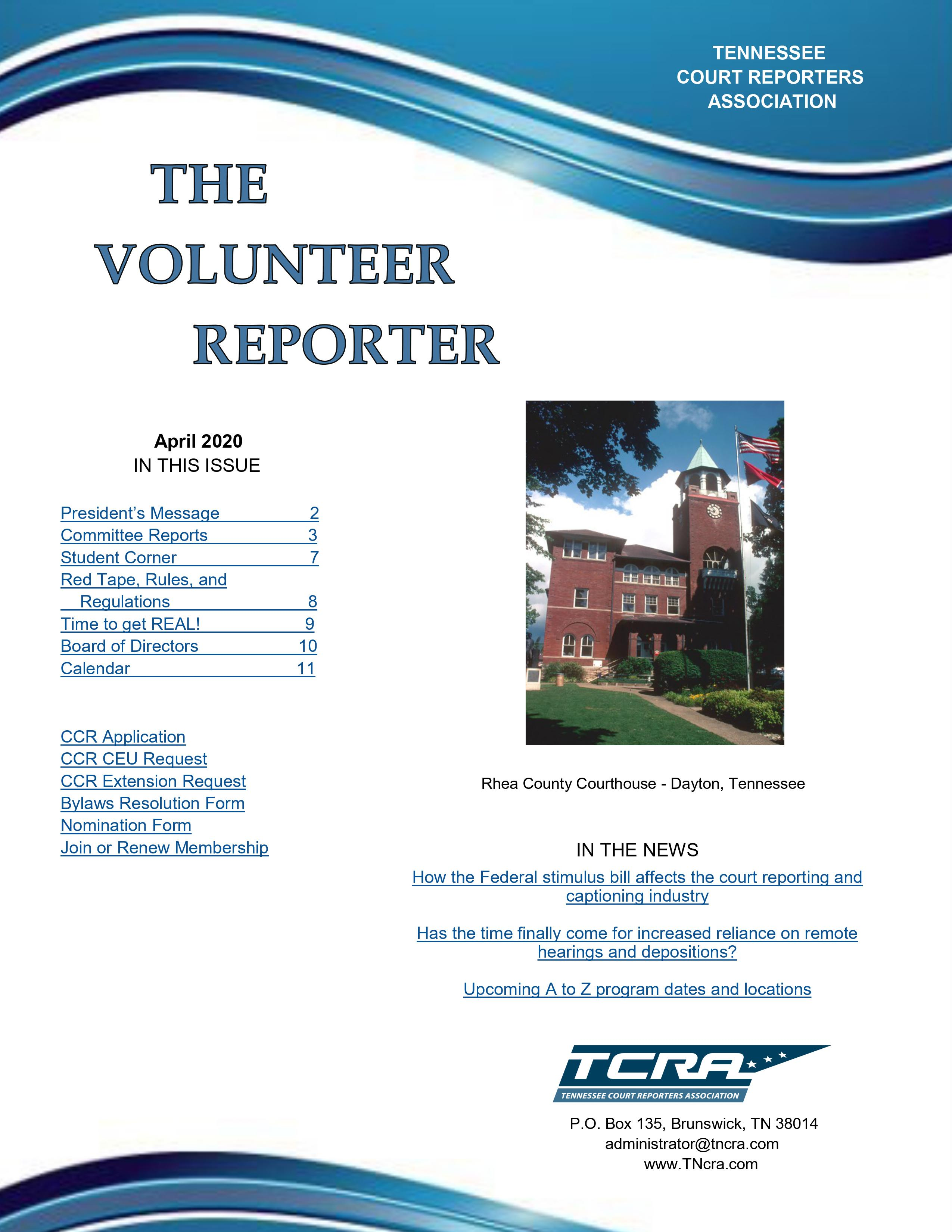 2020 04 30 Newsletter Cover